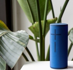 Ultimate Ears Boom 3 bluetooth speaker on a white table next to some plants