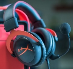 HyperX Cloud II gaming headset on a red stand