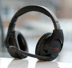 HyperX Cloud Stinger gaming headset on a white table in front of a window