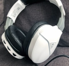 Turtle Beach Recon 200 gaming headset on a gray couch