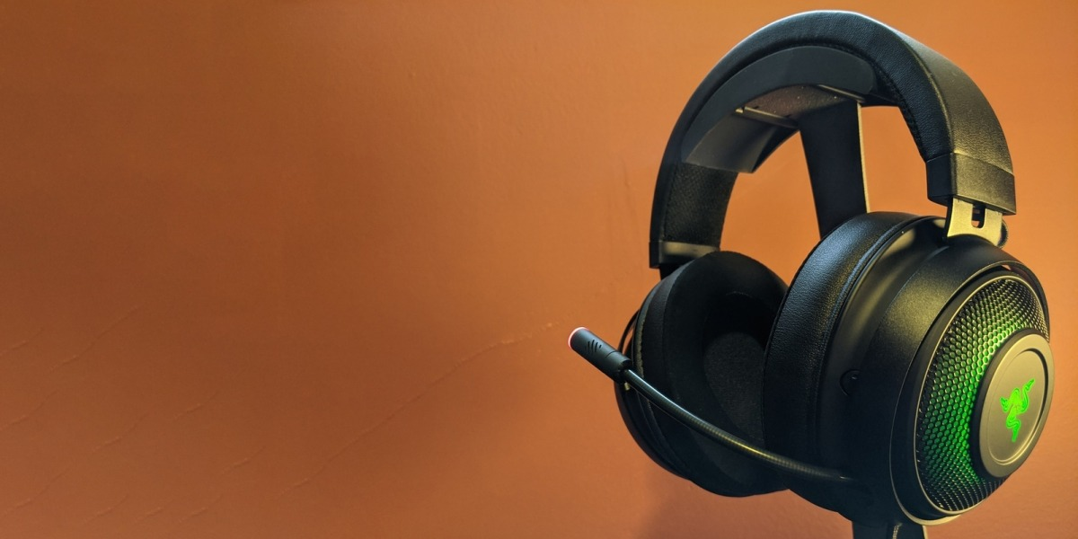 Razer Kraken gaming headset on an orange background