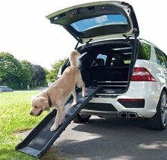 Laura James Portable Folding Dog Pet Ramp placed on a vehicle