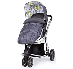 Cossato Giggle Mix CT 4357 baby grey pram with flowers in white background.