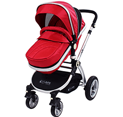 iSafe 77 M97L 9810 2-1 red beautiful baby pram in white background