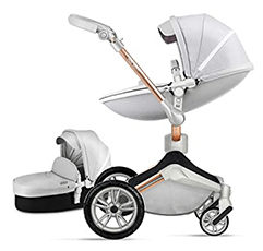 Hot Mom 3-1 grey baby pram with a carycott in white background