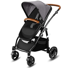 Cyber CBX leotie Lux black pram and pushchair with leather holding bar