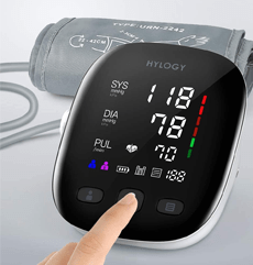 HYLOGY Blood Pressure Monitor on a grey background