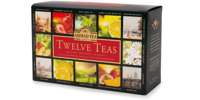 Ahmad Tea Collection on a white background