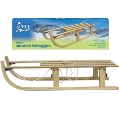 White Out Classic Wooden Toboggan snow sled on a white background