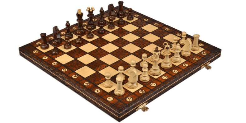 Handcrafted Chess Set on a white background