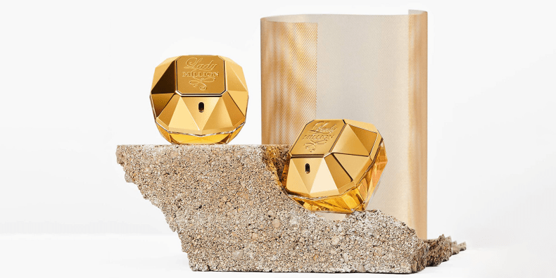 Paco Rabanne Lady Million Eau De Parfum on a beautiful stone
