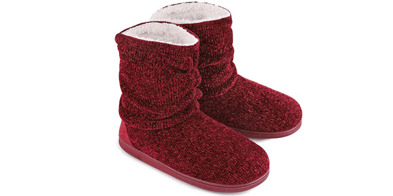 LongBay Ladies' Chenille Knit Bootie Slippers on a white background