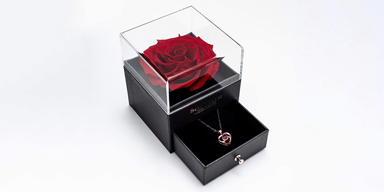 Yamonic Real Rose With Necklace on a white background