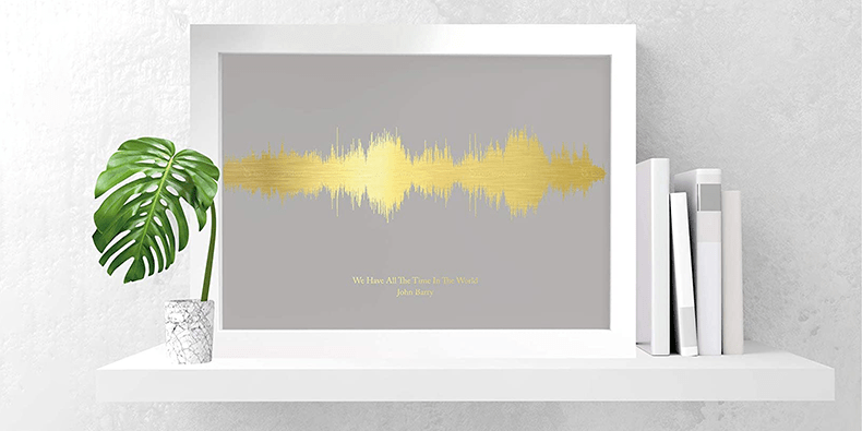 Personalised Favourite Song Print next to a plant and some books