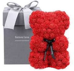 red rose bear with premium grey box for packaging on white background