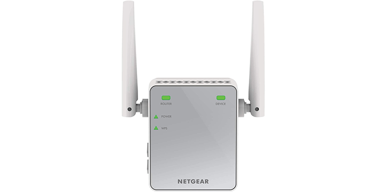 NETGEAR EX2700 wifi booster on a white background