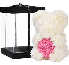 white rose bear with pink heart on white background