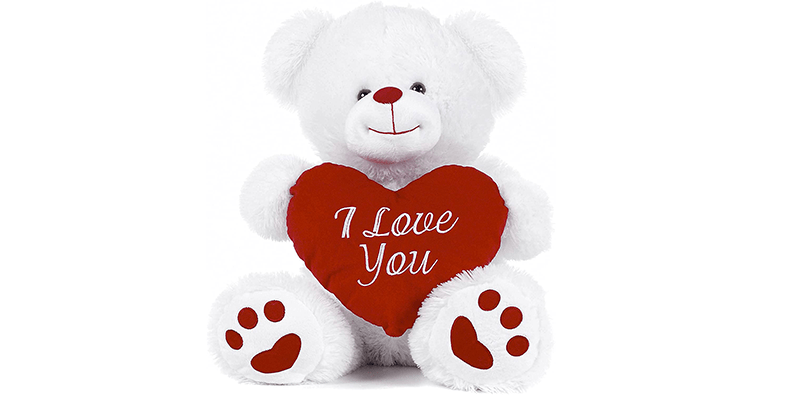 "White Teddy Bear With ""I Love You"" Message on a white background"