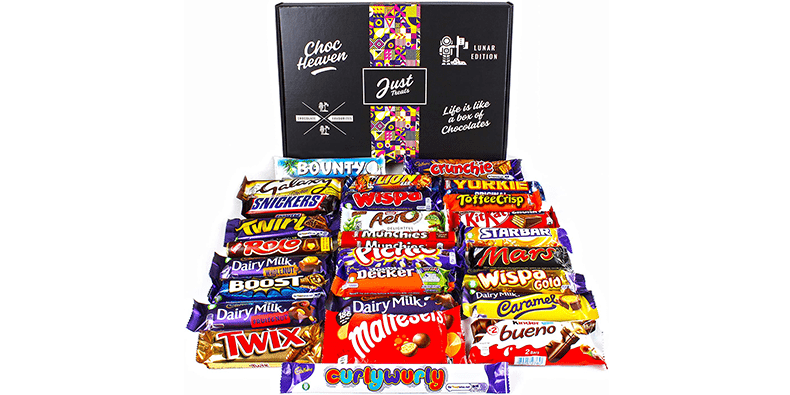 Chocolate Lovers Ultimate Hamper Lunar Box on a white background