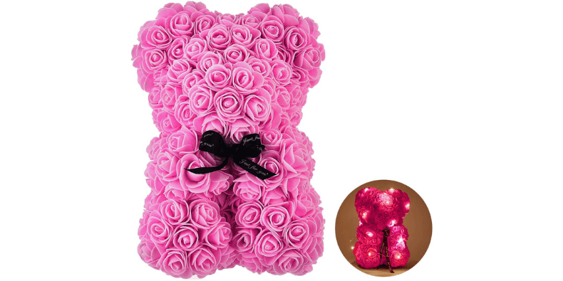 pink rose bear with lights