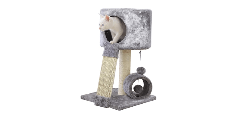 AllPetSolutions Cat Scratching Post with Dangling Ball Toy on a white background