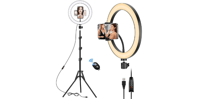 VEVICE LED Ring Light with Tripod Stand on white background