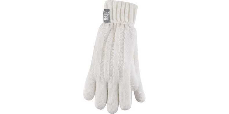 HEAT HOLDERS - Ladies Thermal Cable Knit Gloves on white bakcground