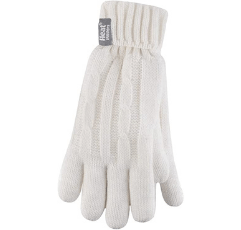HEAT HOLDERS - Ladies Thermal Cable Knit Gloves on white background