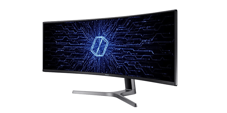 """Samsung QLED CRG9 Curved 49"""" (5120x1440p) gaming monitor on a white background"""