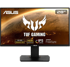 """ASUS TUF Gaming VG289Q 28"""" (3840x2160p) gaming monitor on a white background"""