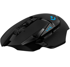 Logitech G502 Lightspeed Wireless gaming mouse on a white background