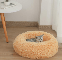 DanceWhale Round Plush Cat & Dog Bed on the floor