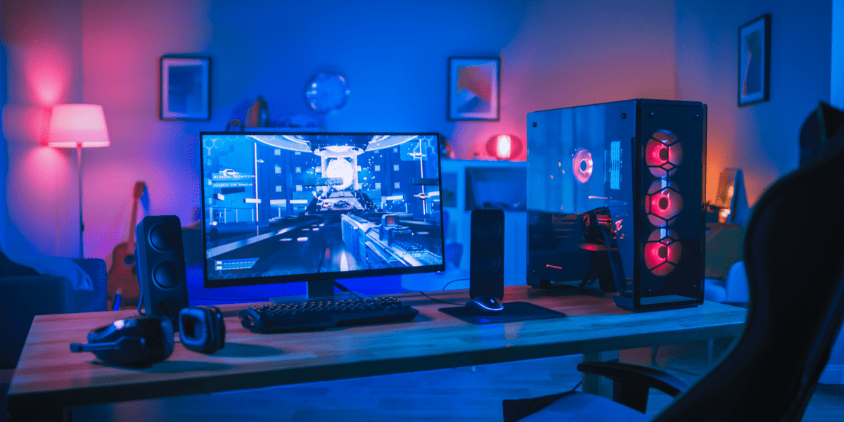 A gaming monitor on a desk