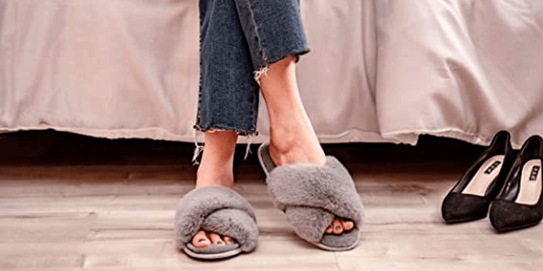 Mabove Womens Slippers being worn by a woman