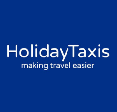 holiday taxis logo on blue background