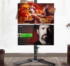 Suptek Dual Monitor Mount with dual monitors mounted on it horizontally