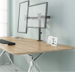 BONTEC Dual Monitor Stand on wooden desk table with dual monitors