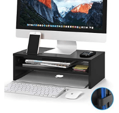 BONTEC Wood Monitor Stand Riser with office accessories on white background